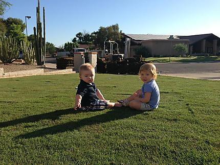 Kids Enjoying Arizona Lawn